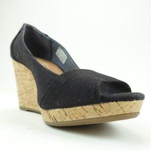 TOMS Women's Size 6 Black Cork Wedge Sandals R9S11